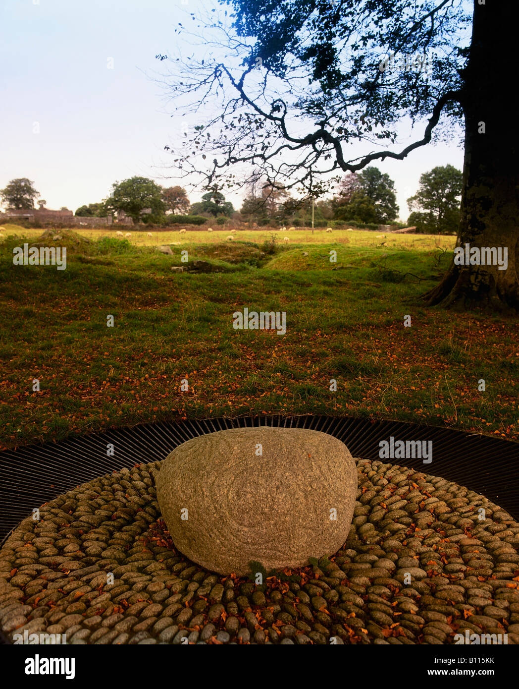 County Roscommon, Ireland, Boulder decorated in Celtic La Tene style, 300 BC. - Stock Image