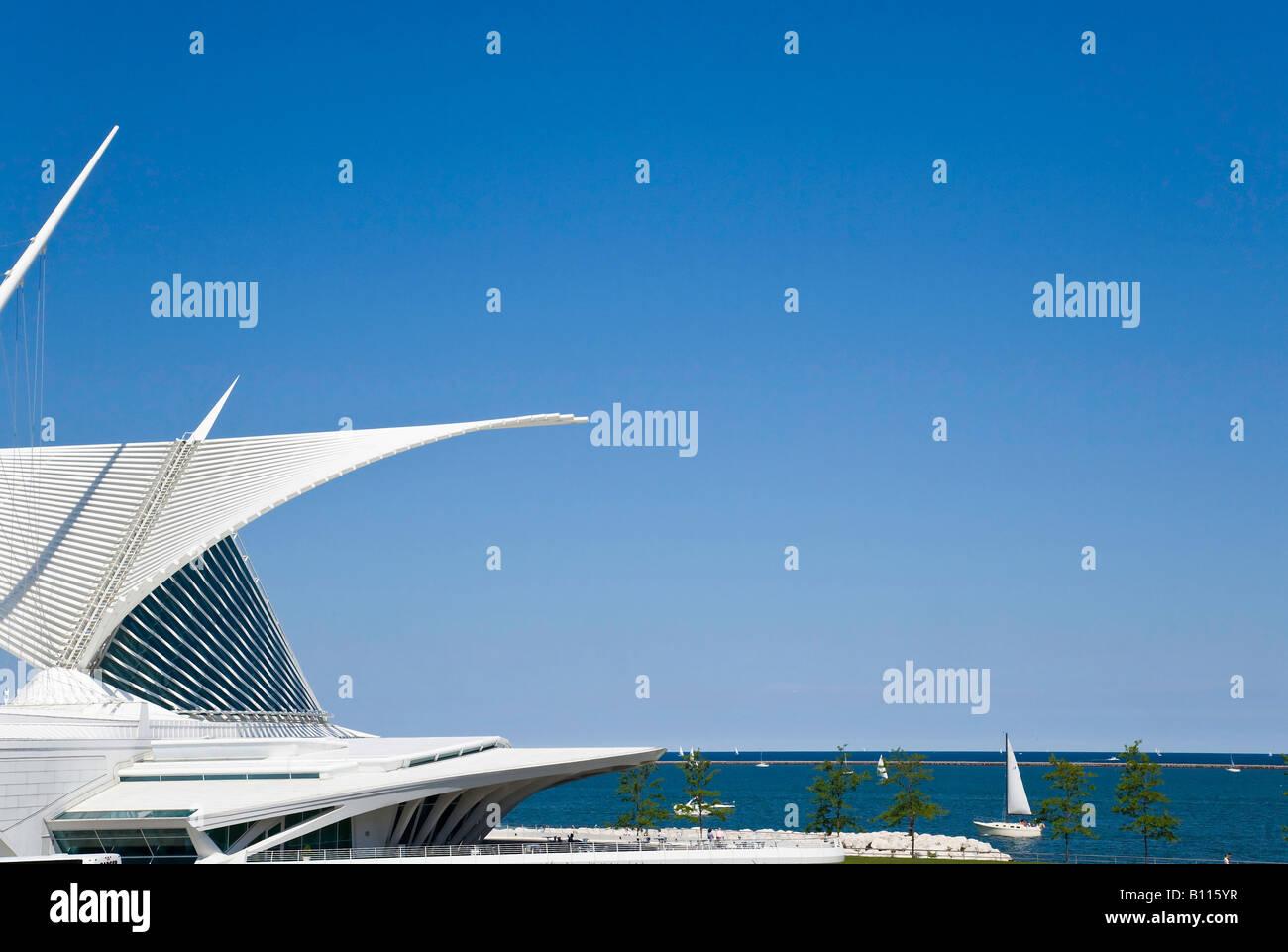 Santiago Calatrava addition to the Milwaukee Art Museum in Milwaukee WI - Stock Image
