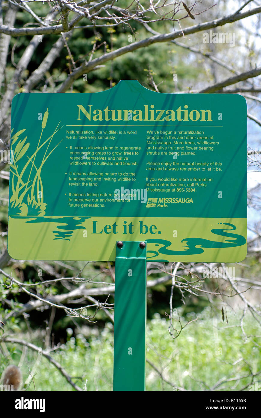 Naturalization Project in Mississauga Sign - Stock Image