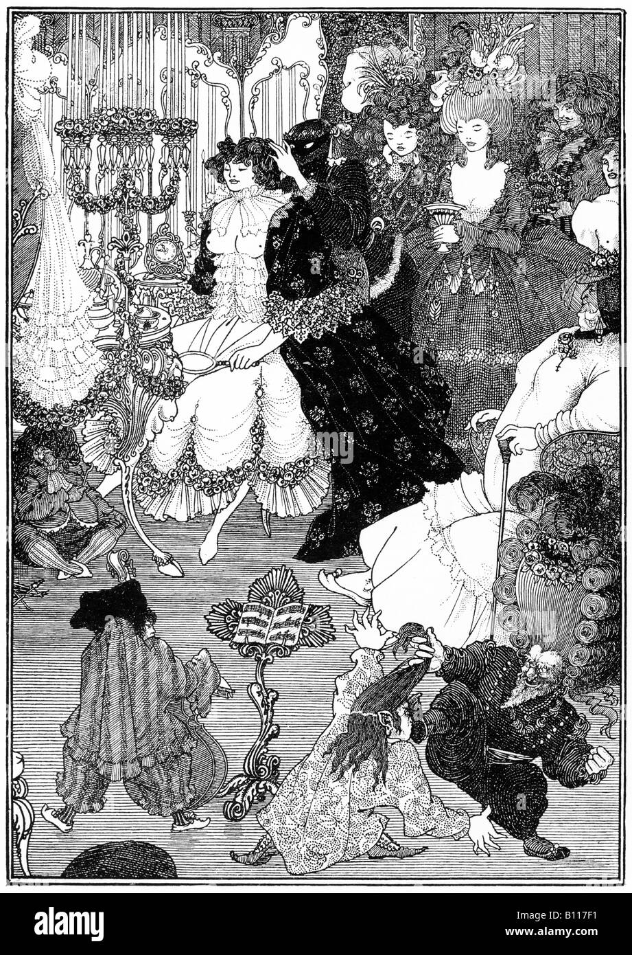 The Toilet Of Helen The Savoy 1895 illustration by Aubrey Beardsley of the heroine of his story Under The Hill - Stock Image