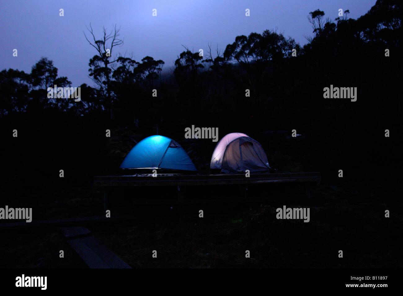 tentcamp at Cradle Mountain National Park Cradle Mountain Tasmania - Stock Image