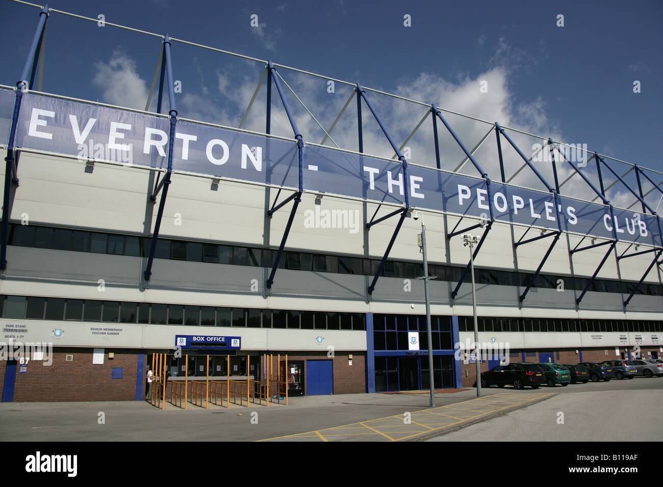 City of Liverpool, England. Main stadium entrance to Goodison Park, home of Everton Football Club. Stock Photo