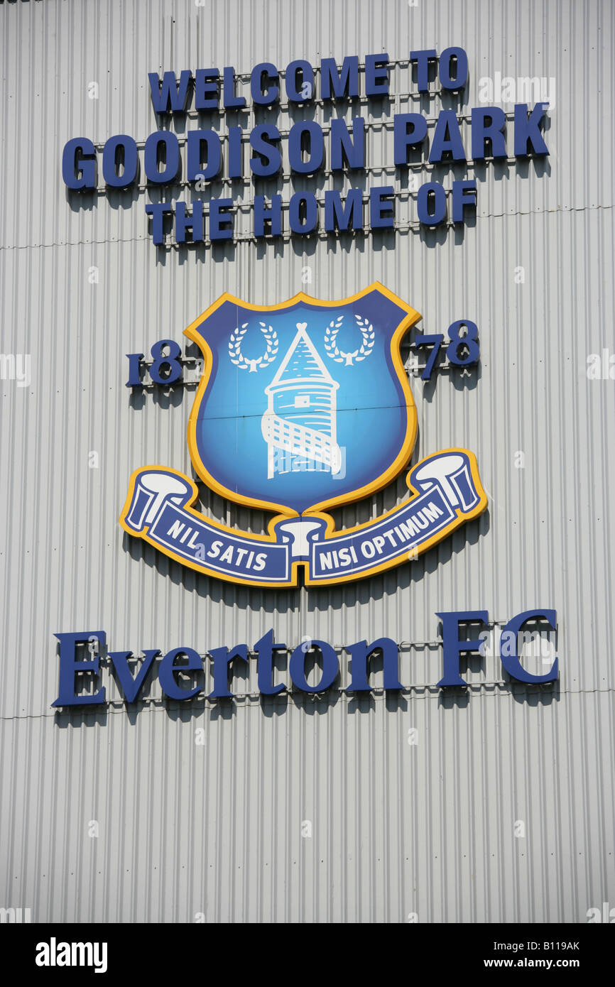 City of Liverpool, England. Close-up view of Everton Football Club crest on the wall of Goodison Park football stadium. Stock Photo