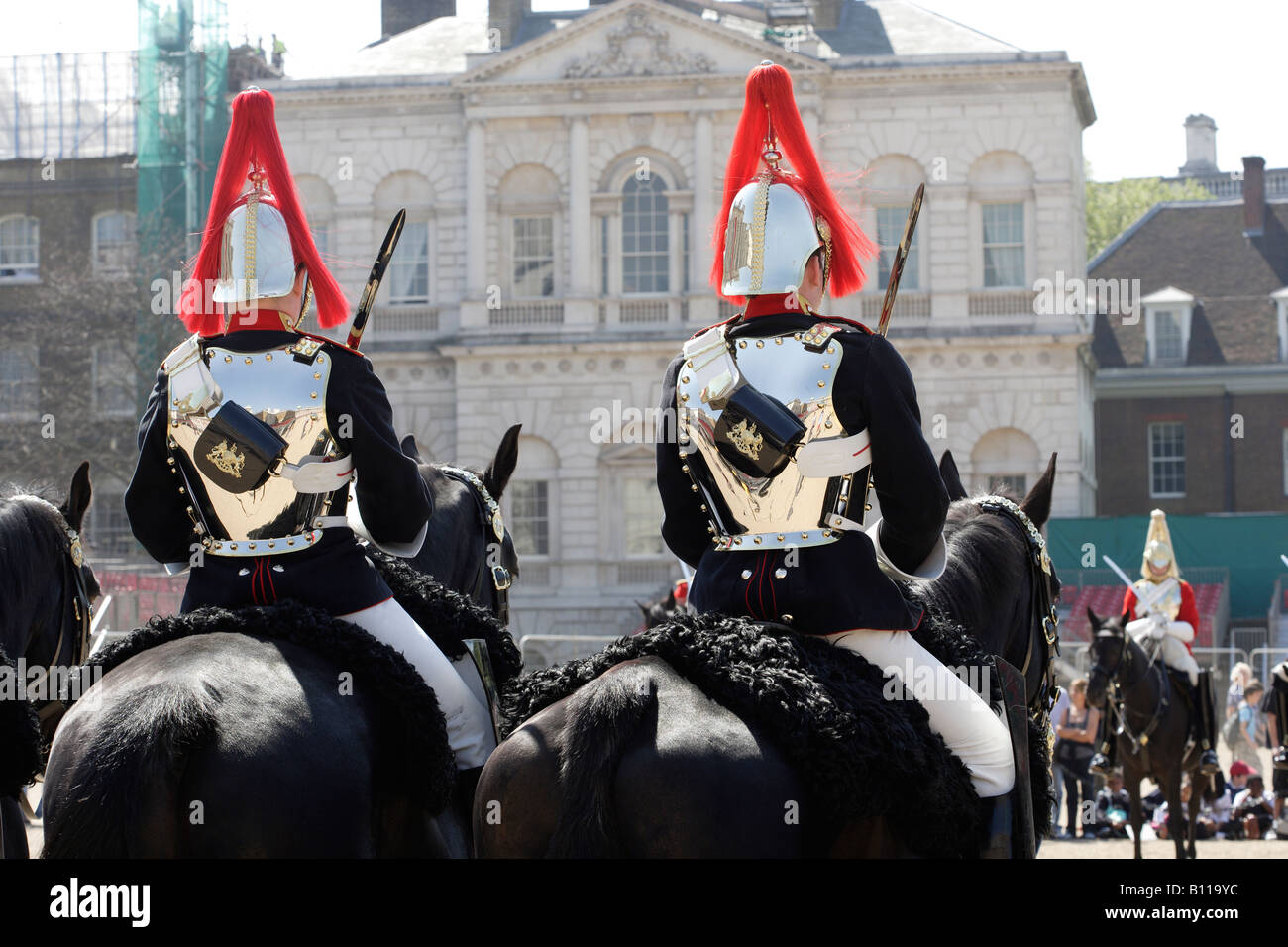 Blues and Royals on horseback Horse Guards Parade London England - Stock Image