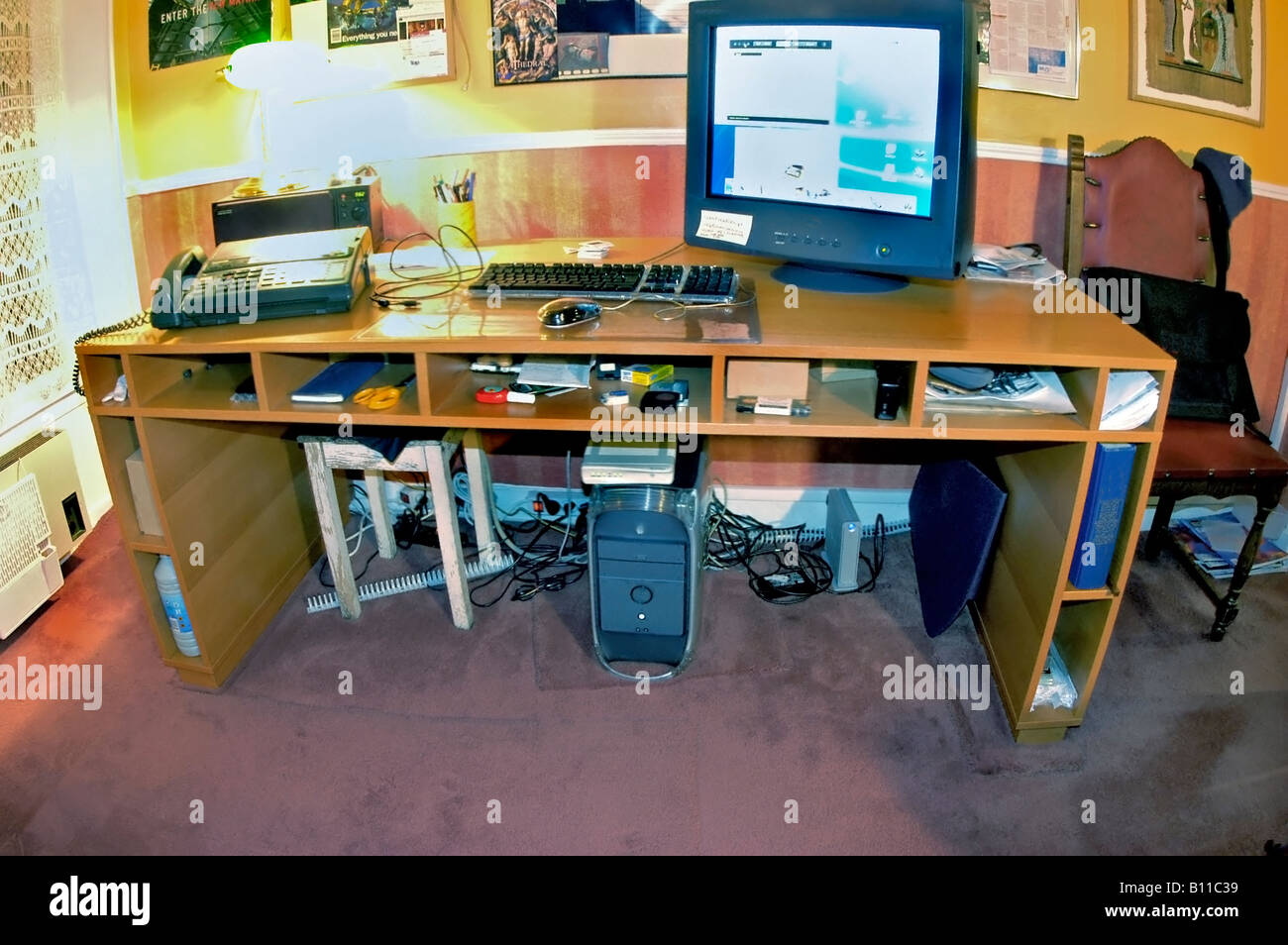 Home Office Equipment Desk with Computer mac - Stock Image