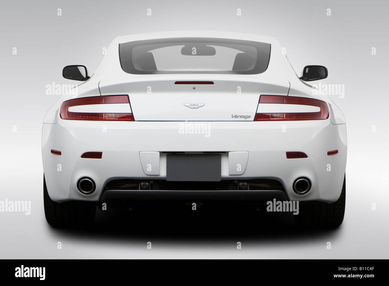 2008 Aston Martin V8 Vantage In White Low Wide Rear Stock Photo Alamy
