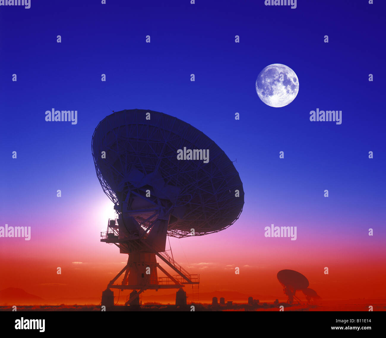 ROW OF SATELLITE DISHES JANSKY VLART RADIO TELESCOPE ARRAY PLAINS OF SAINT AUGUSTINE NEW MEXICO USA Stock Photo