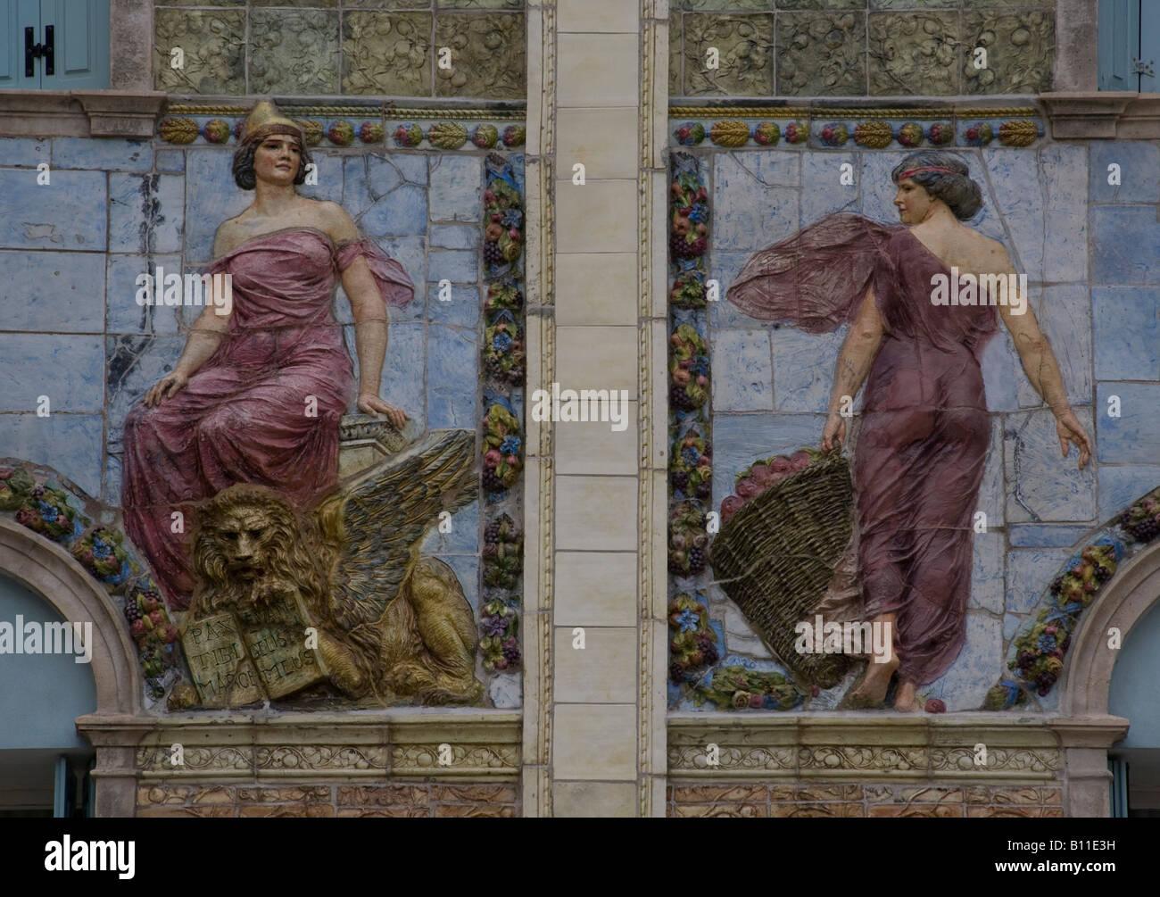Venedig, Lido, Ausonia Palace Hotel, Fassadendetail - Stock Image