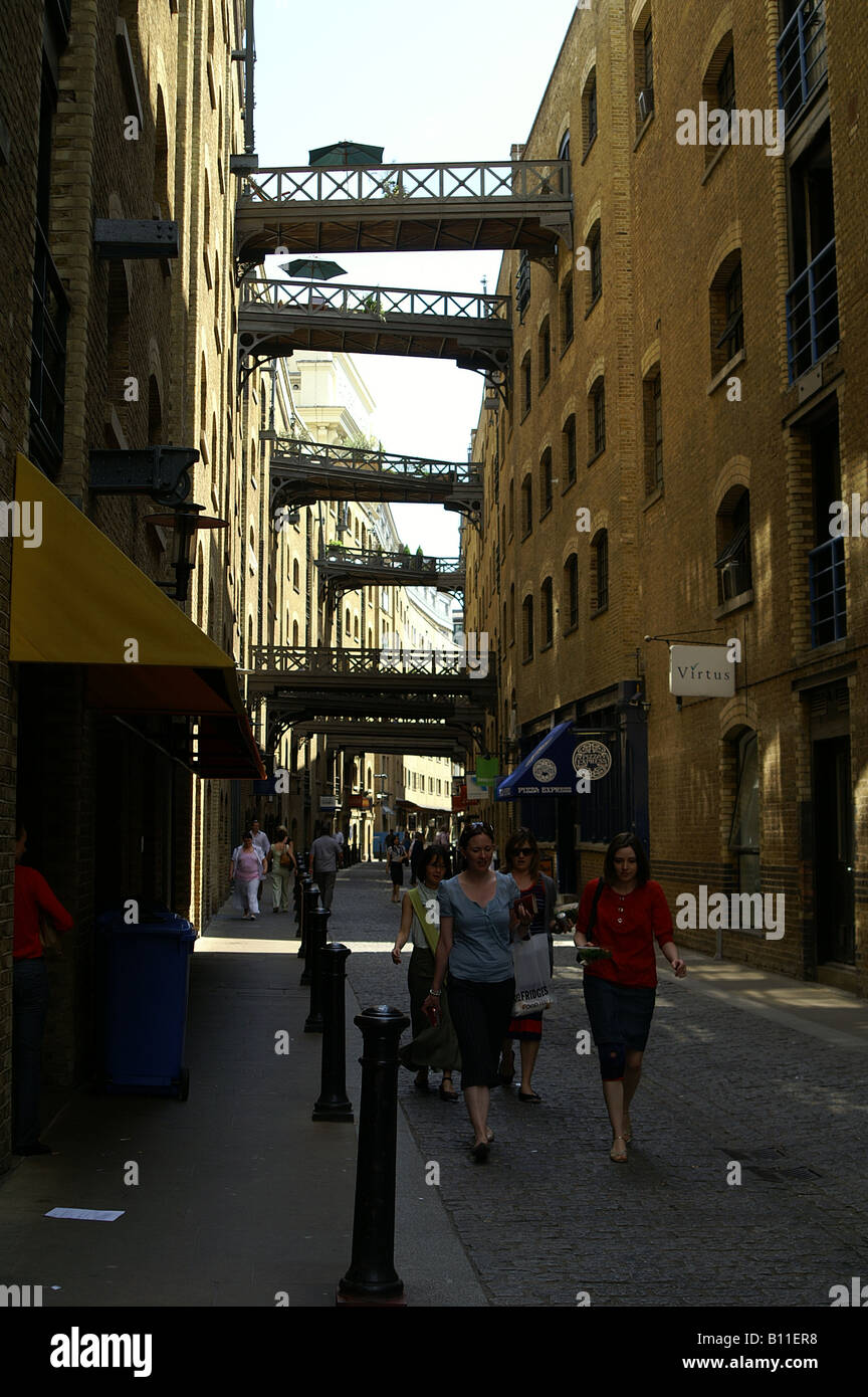 Light and shadow along Shad Thames, London - Stock Image
