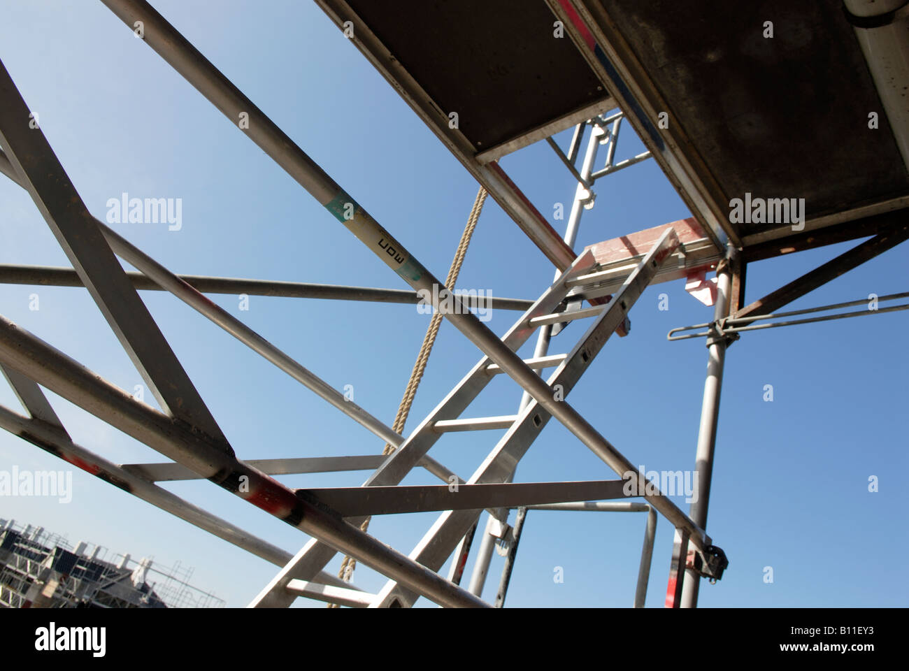 SCAFFOLDING WITH LADDER - Stock Image