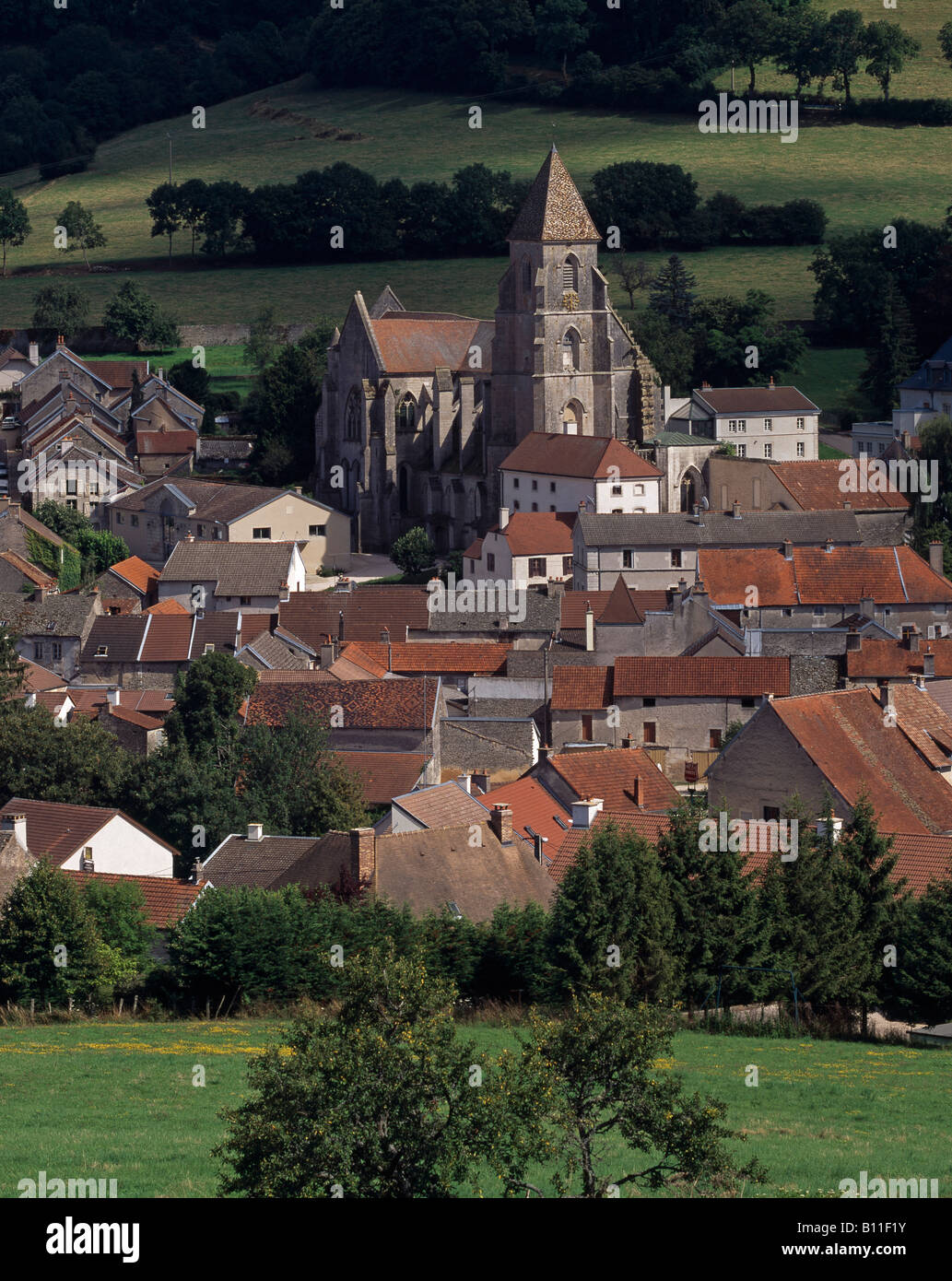 Saint-Seine-l'Abbaye, 'Dortfansicht mit Kirche St. Seine - Stock Image