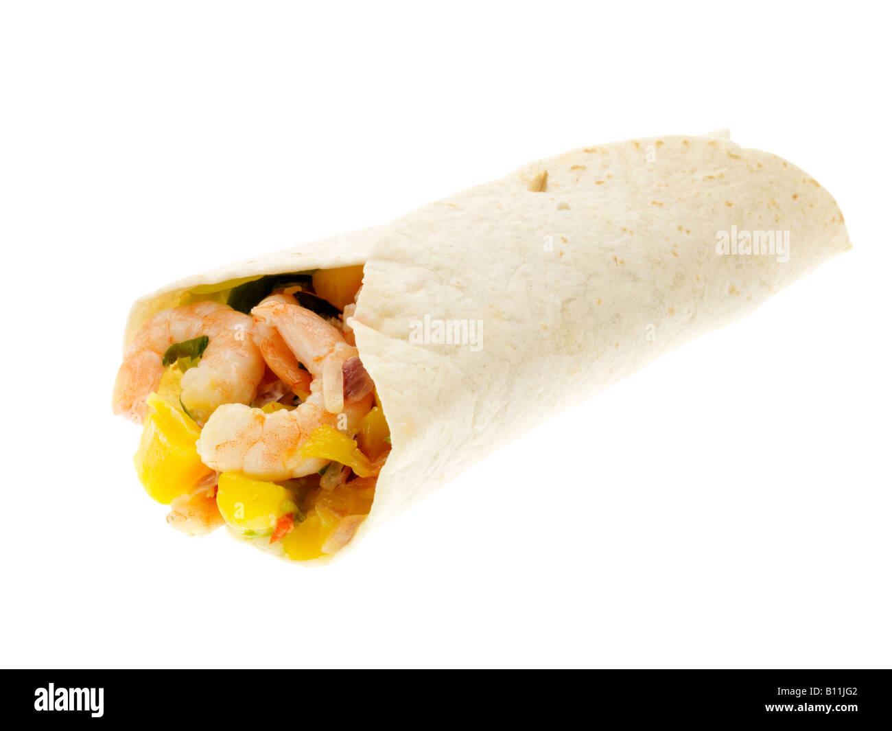 Spicy Prawn Burrito - Stock Image