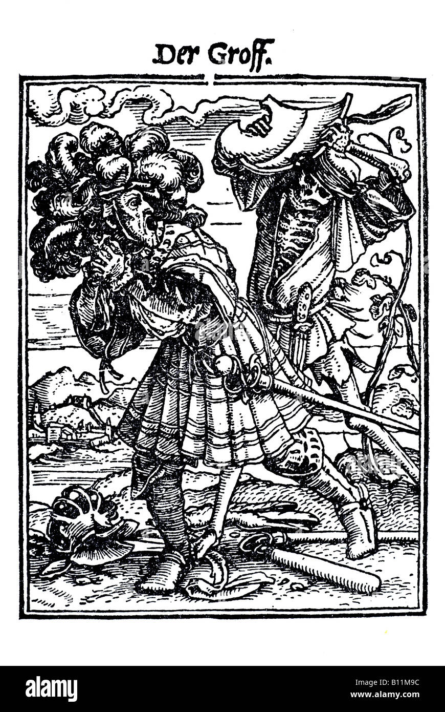 The count, earl, Hans Holbein the younger, Danse Macabre, 1538, Germany - Stock Image