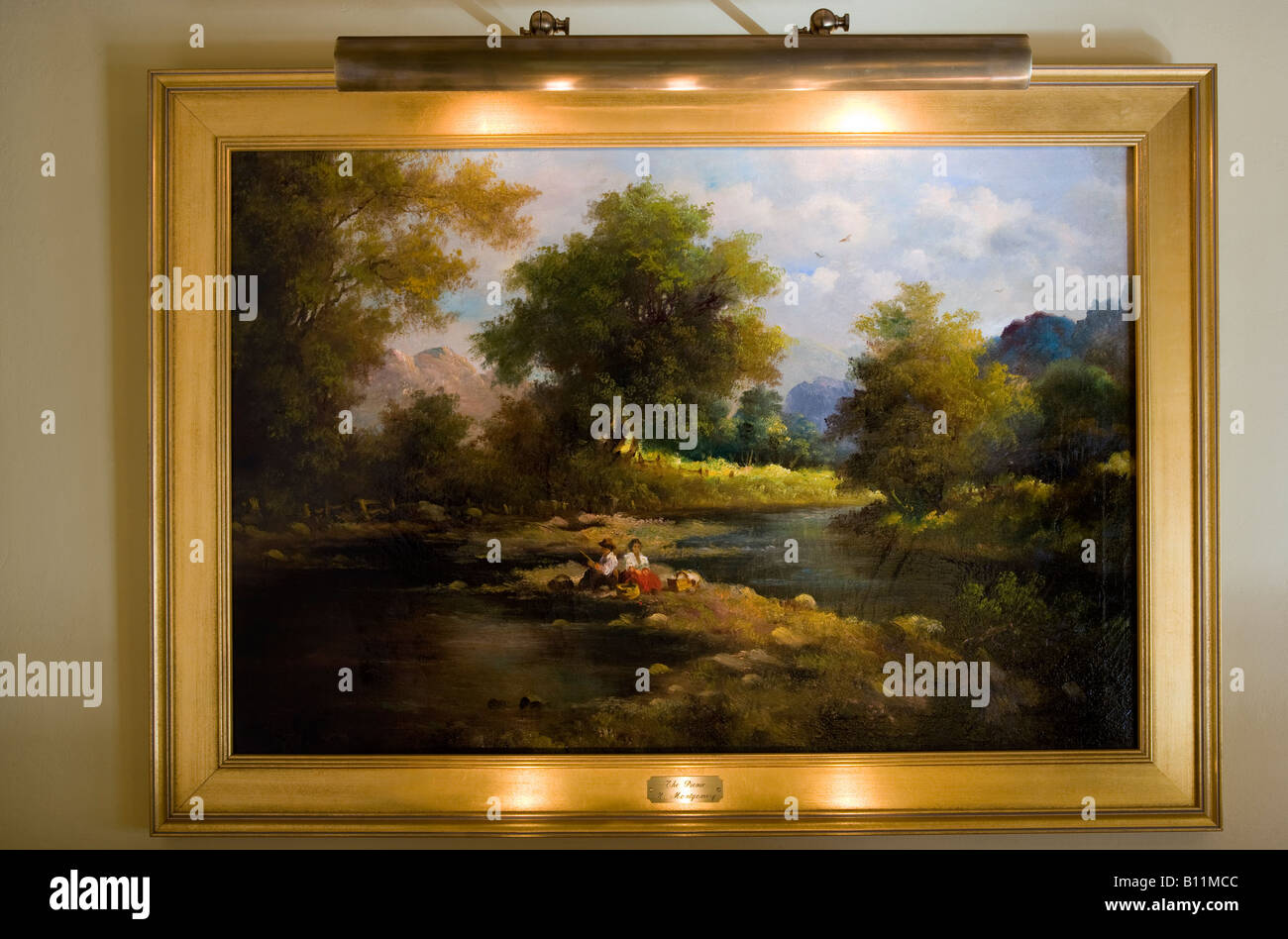 Landscape Oil Painting Hanging On Wall In Home Stock Photo 17863004
