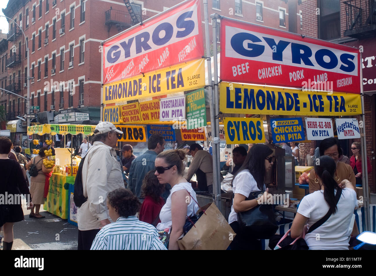 Greek food at the famous Ninth Avenue Food Festival in New York - Stock Image