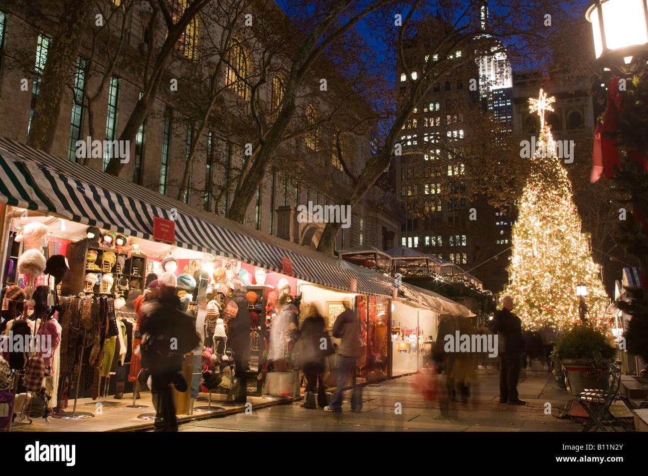 christmas tree lights bryant park christmas market manhattan new york city usa stock image