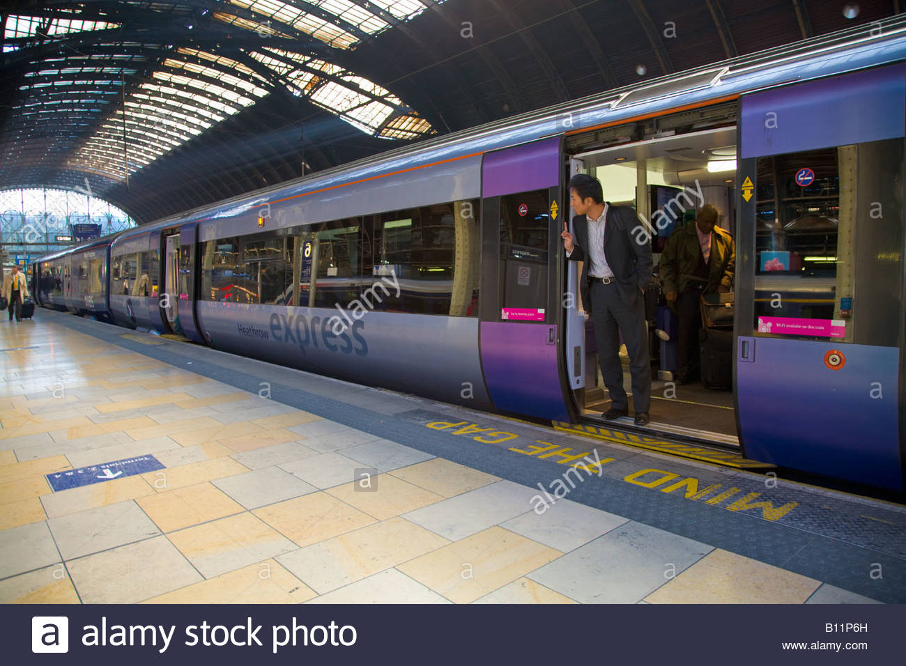 Heathrow Express Train at London Paddington Station London UK