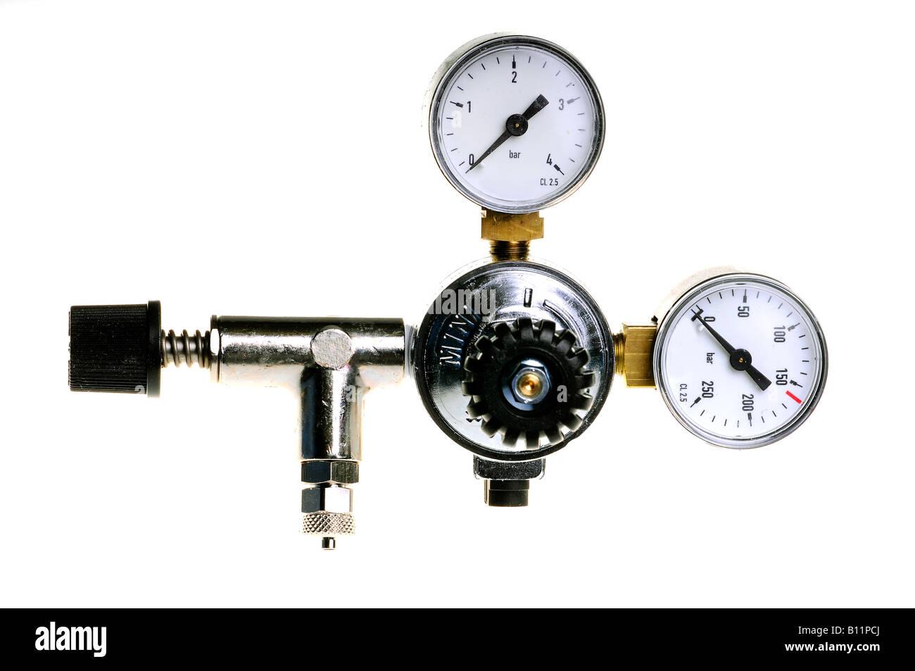 gas cylinder pressure gauge on white background - Stock Image