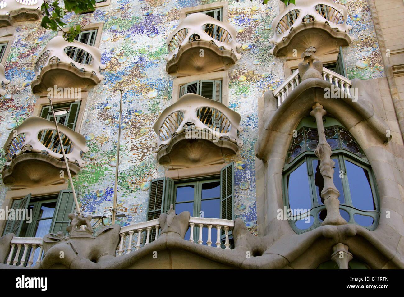 The Facade of Antoni Gaudi's Building the Casa Batllo on Passeig de Gracia, Eixample, Barcelona, Spain - Stock Image