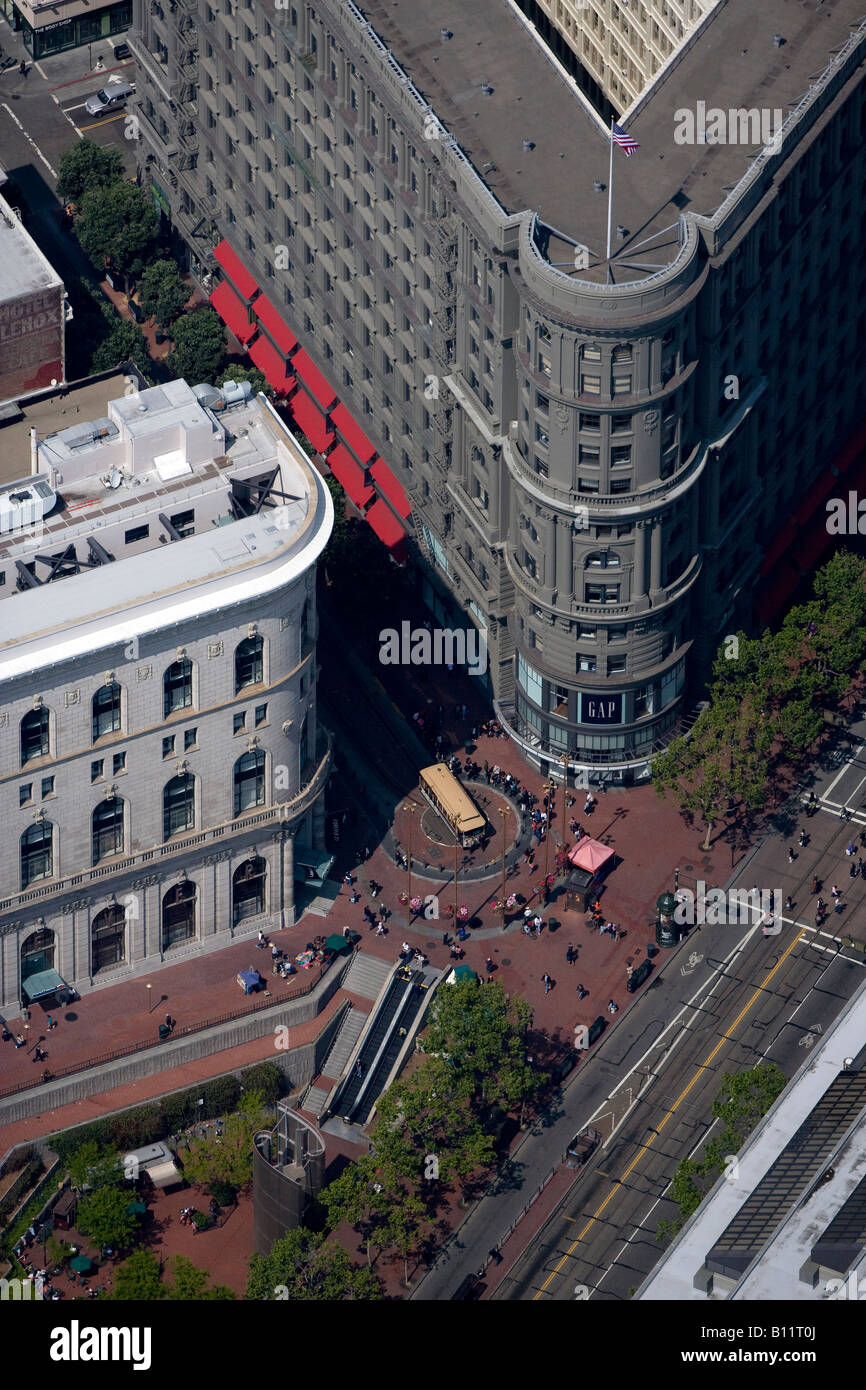 aerial above San Francisco Powell Street cable car at Market Street - Stock Image