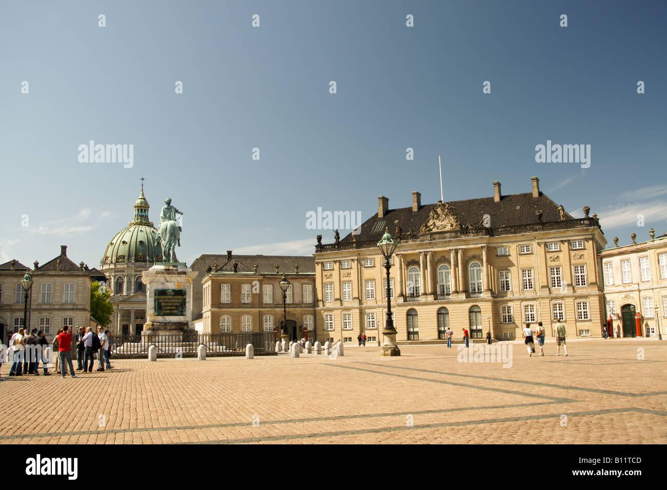 Amalienborg Copenhagen, King Frederick V. statue Denmark - Stock Image