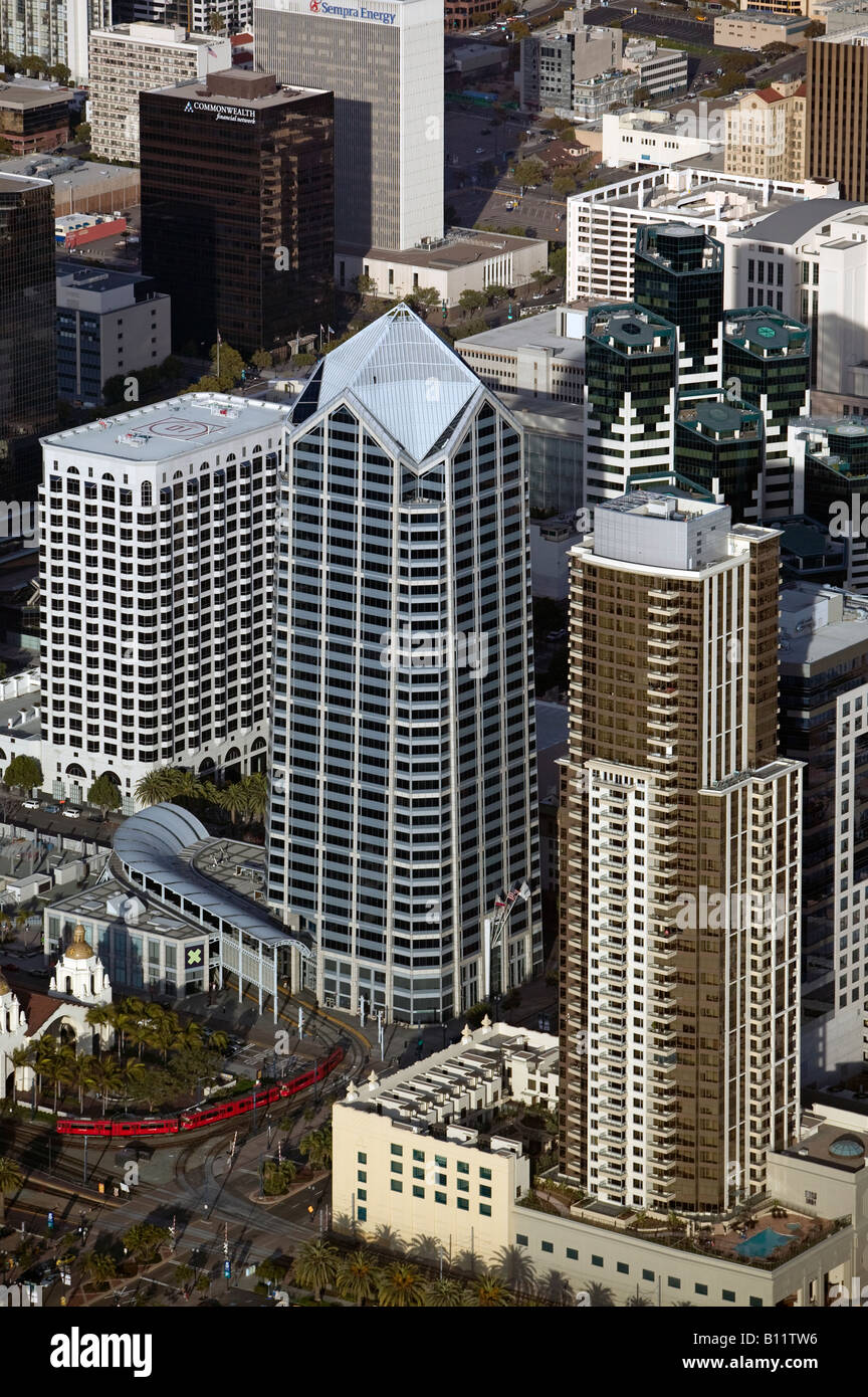 aerial above downtown San Diego California One America office tower and trolley station Stock Photo