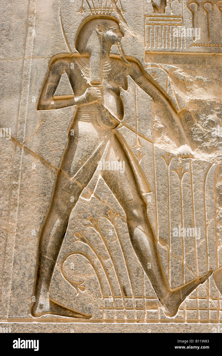 Relief Carving, Luxor Temple, Luxor, Nile Valley, Egypt - Stock Image