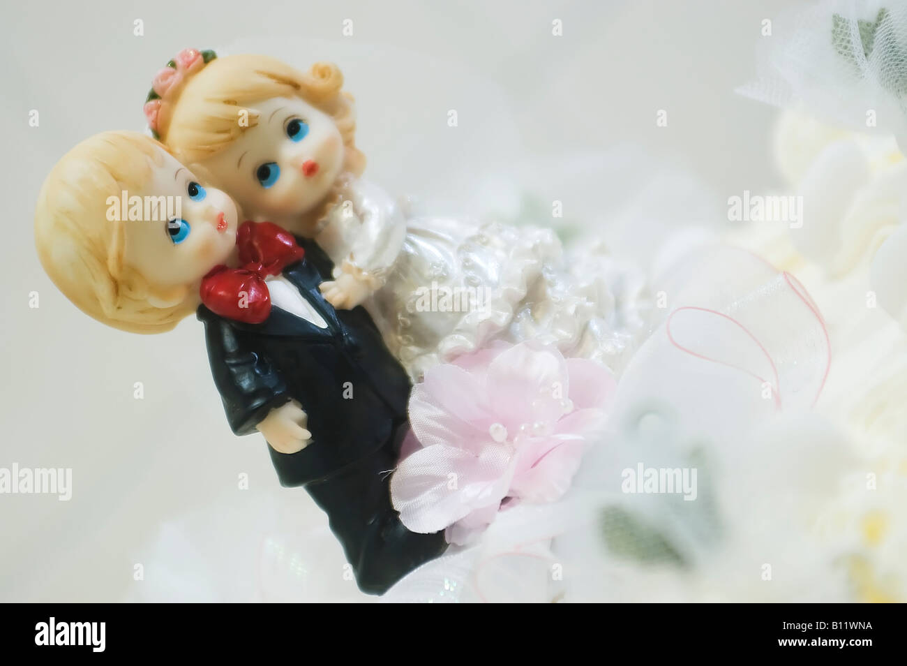 Sweet Children Couple Of Bride And Groom On The Top Of A Wedding Cake Stock Photo Alamy