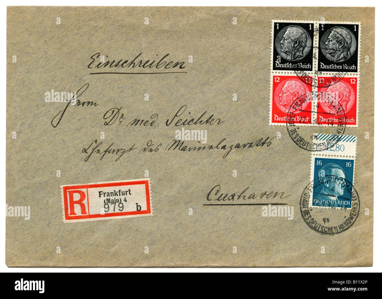 Germany Deutsches Reich Hindenburg stamps on Registered letter, postmarked Frankfurt am Main, 1942. - Stock Image