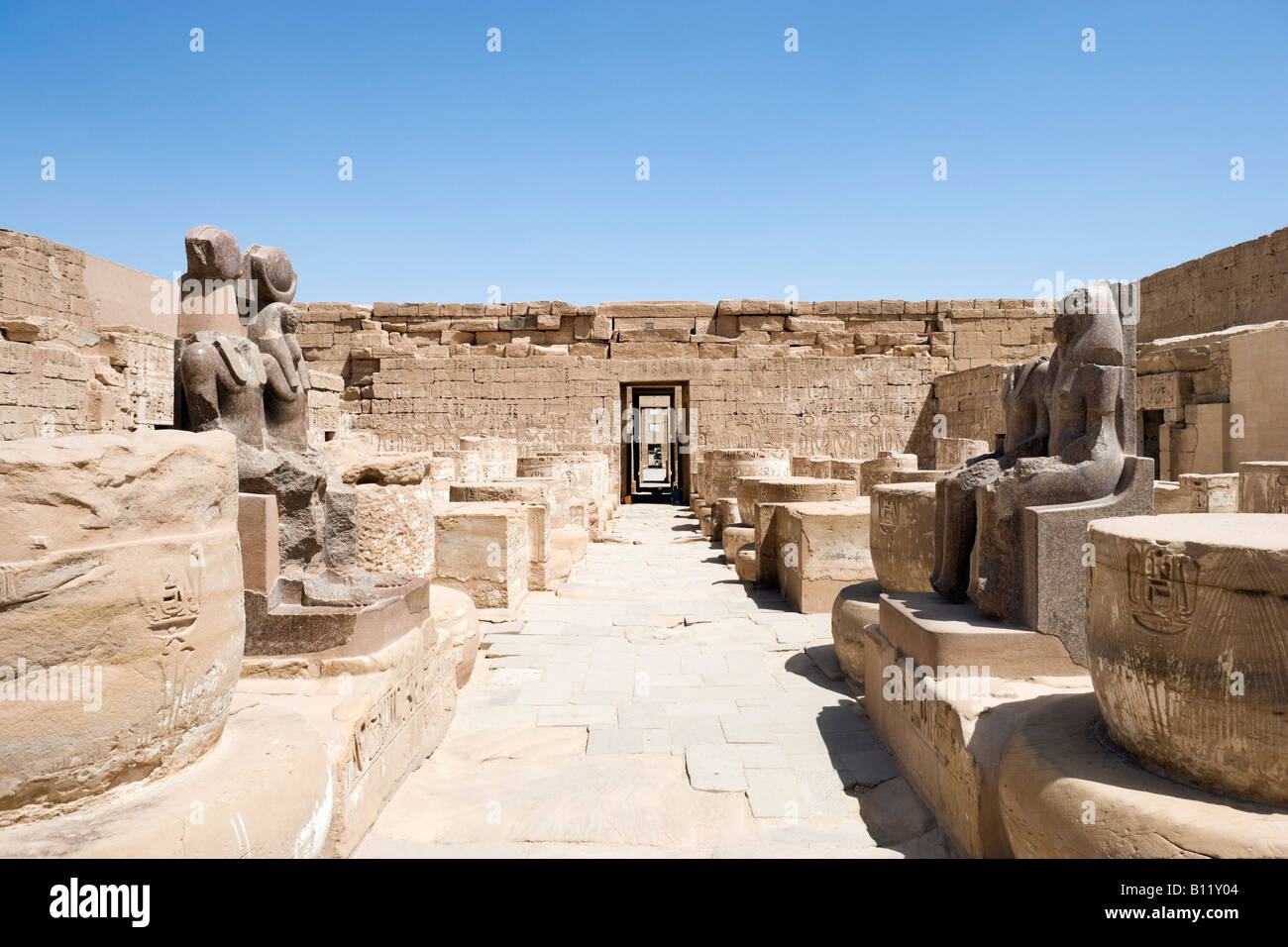 Statues of Ramses & Maat or (Thoth) in Sanctuaries, Temple of Medinet Habu, (Mortuary Temple of Ramses III), - Stock Image