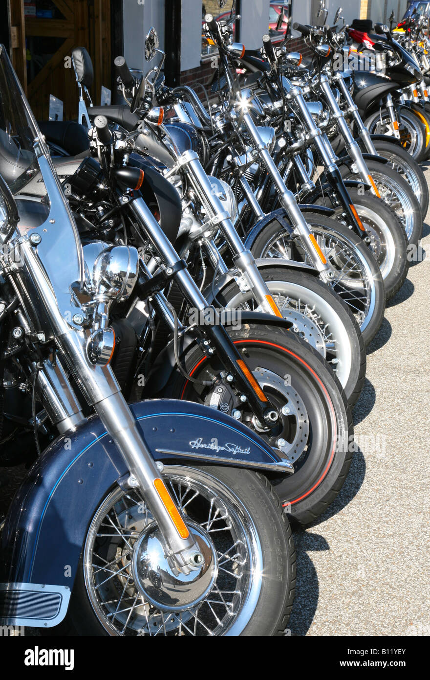 A row of Harley Davidson motorbikes, Newmarket, Suffolk, England - Stock Image