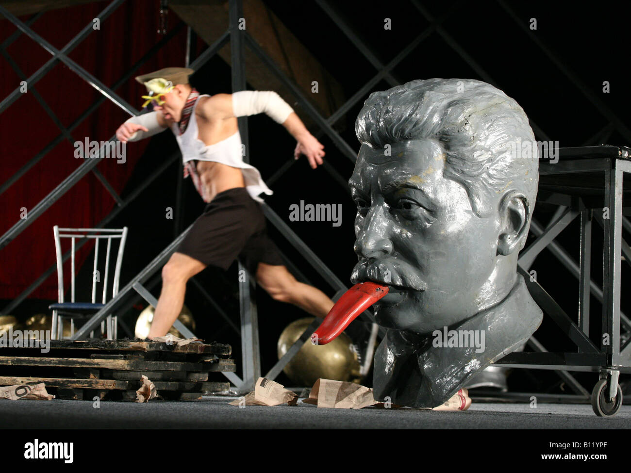 Performance of Roman Viktuk Theatre 'Master and Margarita' by Mikhail Bulgakov. - Stock Image