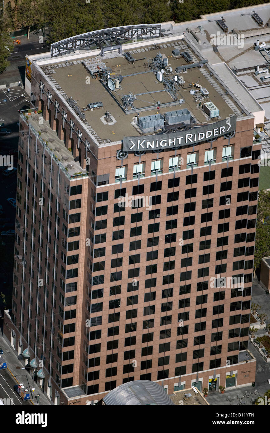 aerial above Knight Ridder building San Jose California - Stock Image