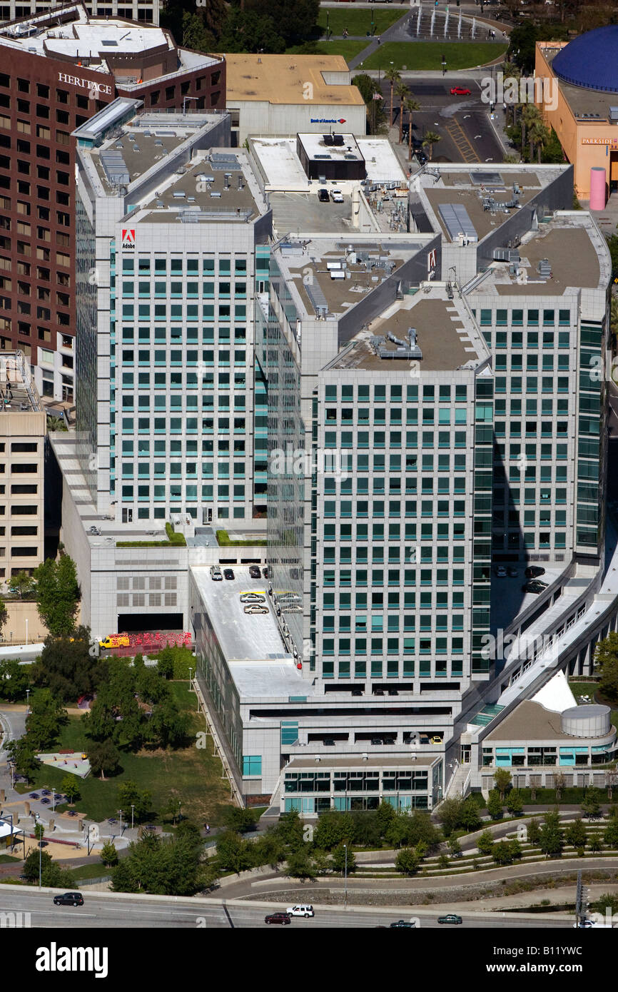 aerial above Adobe Systems corporate headquarters San Jose California - Stock Image