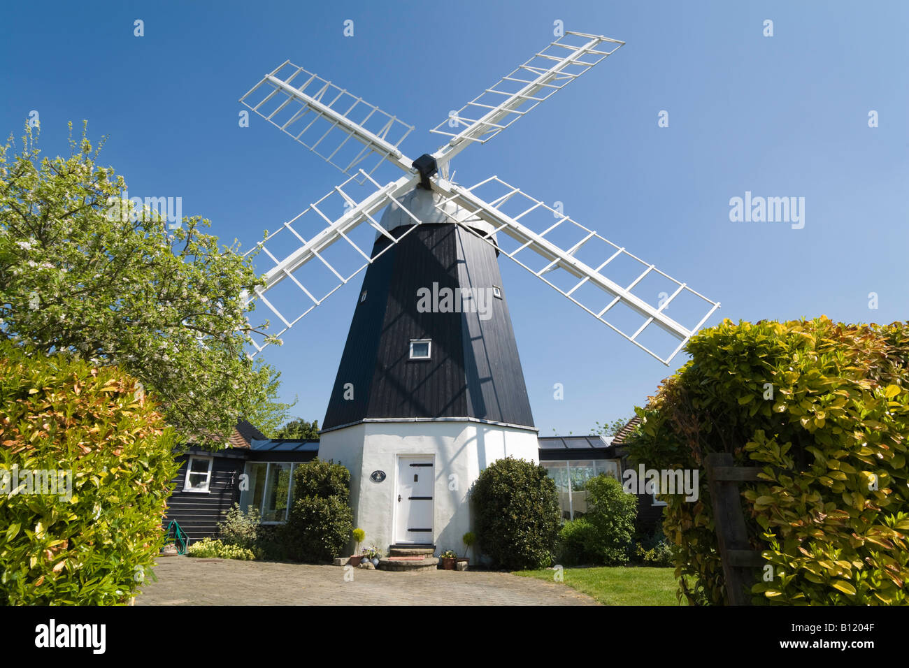Smock Tower Windmill, Swaffham Prior, Cambridgeshire - an example of a windmill which has been converted into a - Stock Image