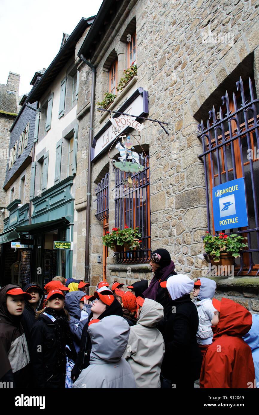 Schoolchildren with their teacher at Le Mont Saint Michel Normandy France - Stock Image