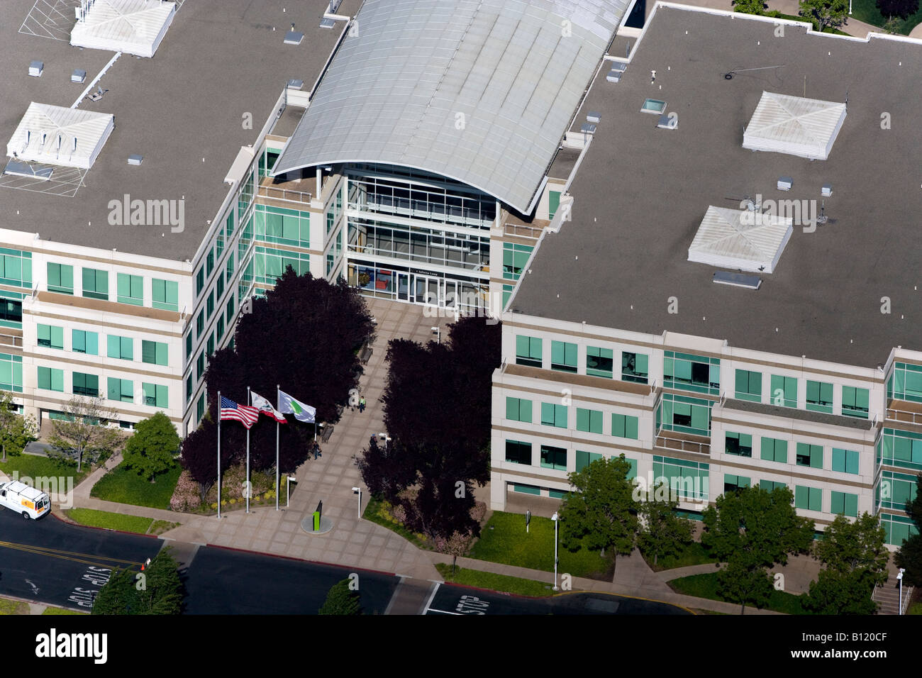 aerial view above Apple Inc world corporate headquarters Silicon Valley Cupertino California - Stock Image