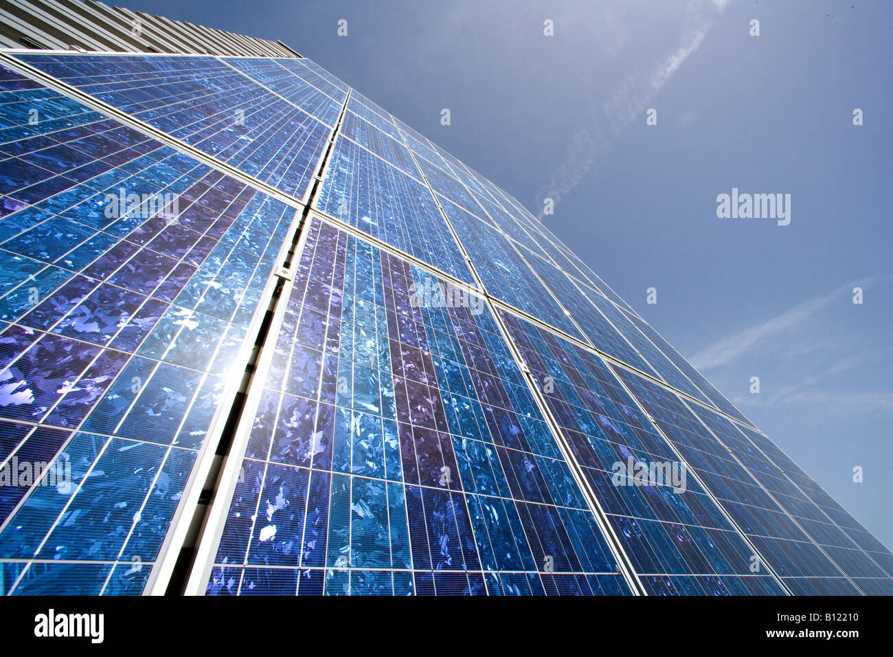 Production site for solar panels of the aleo solar AG in Prenzlau Solar panels at the outside of the plant - Stock Image