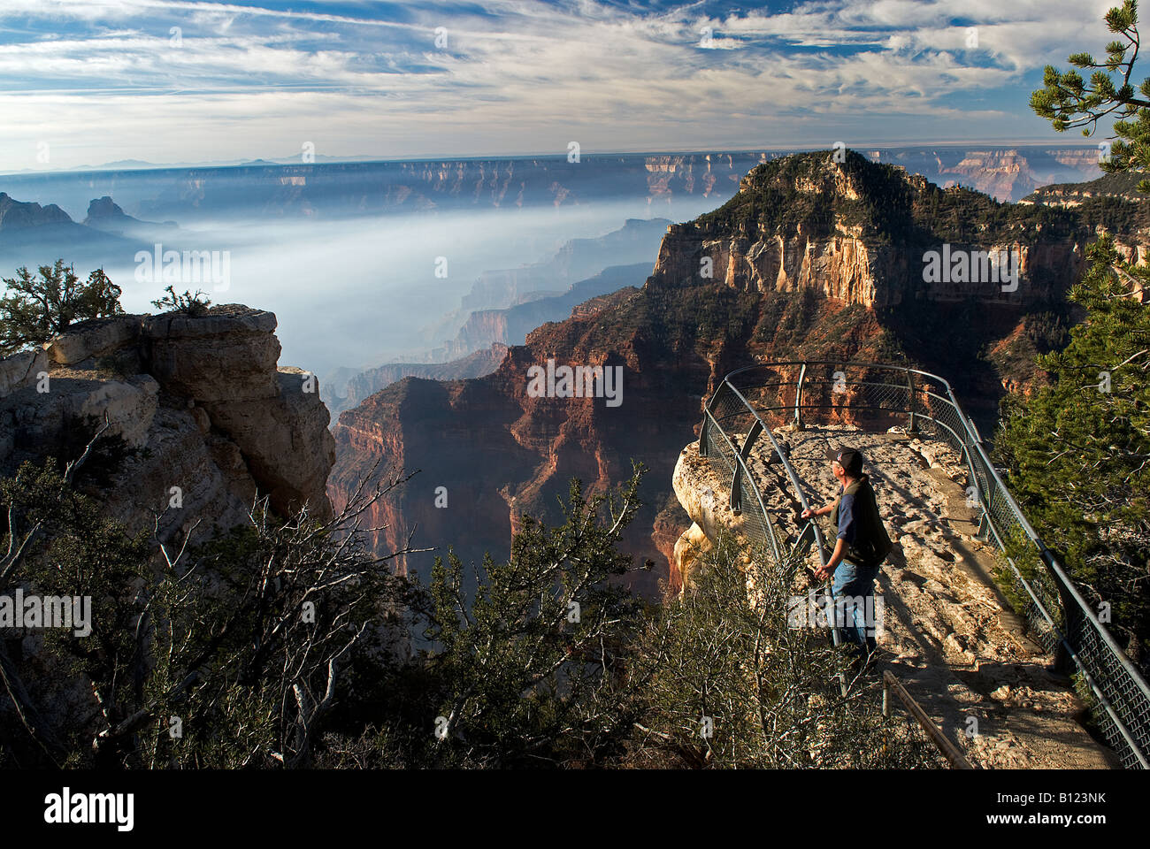 View from the North Rim of smoke from controlled burning in the Grand Canyon of Arizona - Stock Image