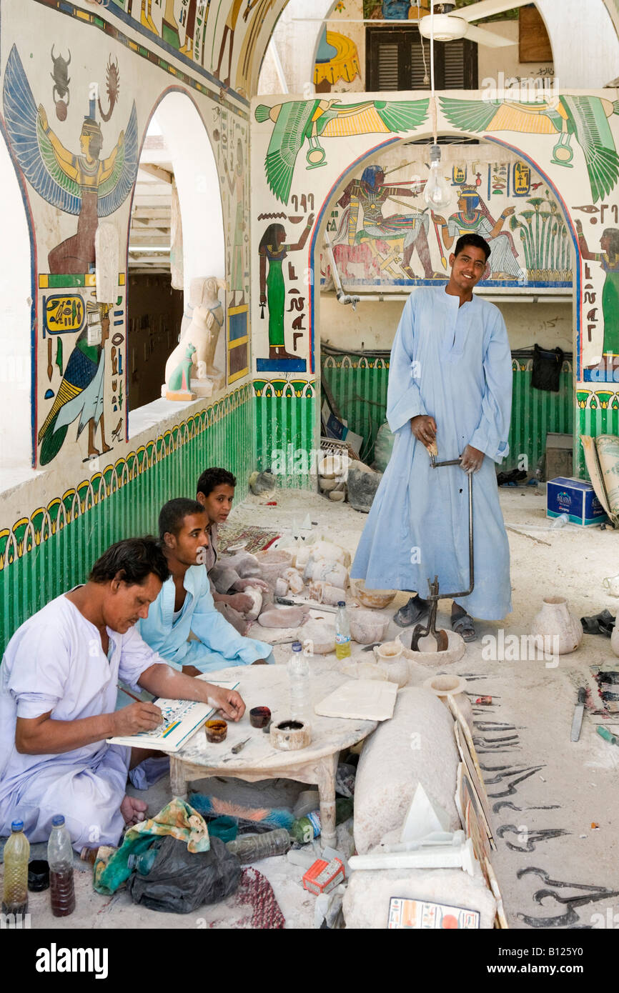 Craftsman at an alabaster factory on the West Bank, Luxor, Nile Valley, Egypt - Stock Image