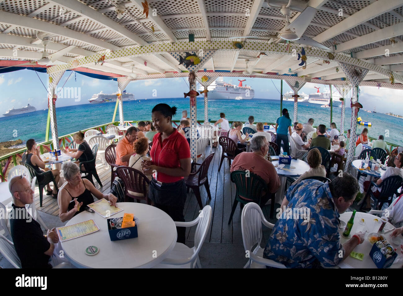 Outdoor Restaurant On Georgetown Waterfront On Grand Cayman