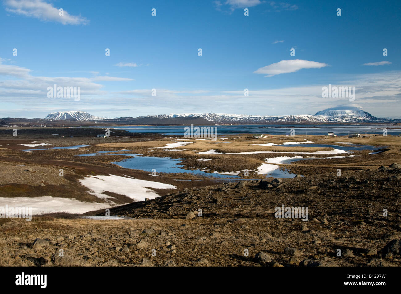 Myvatn lake view from road 848 jcn 87 near Reykjahlid. Iceland - Stock Image