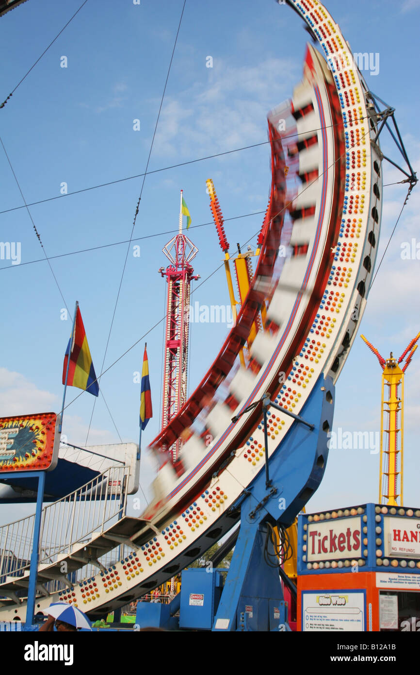 Ring Of Fire Carnival Ride with Motion Blur Canfield Fair Canfield Ohio Stock Photo
