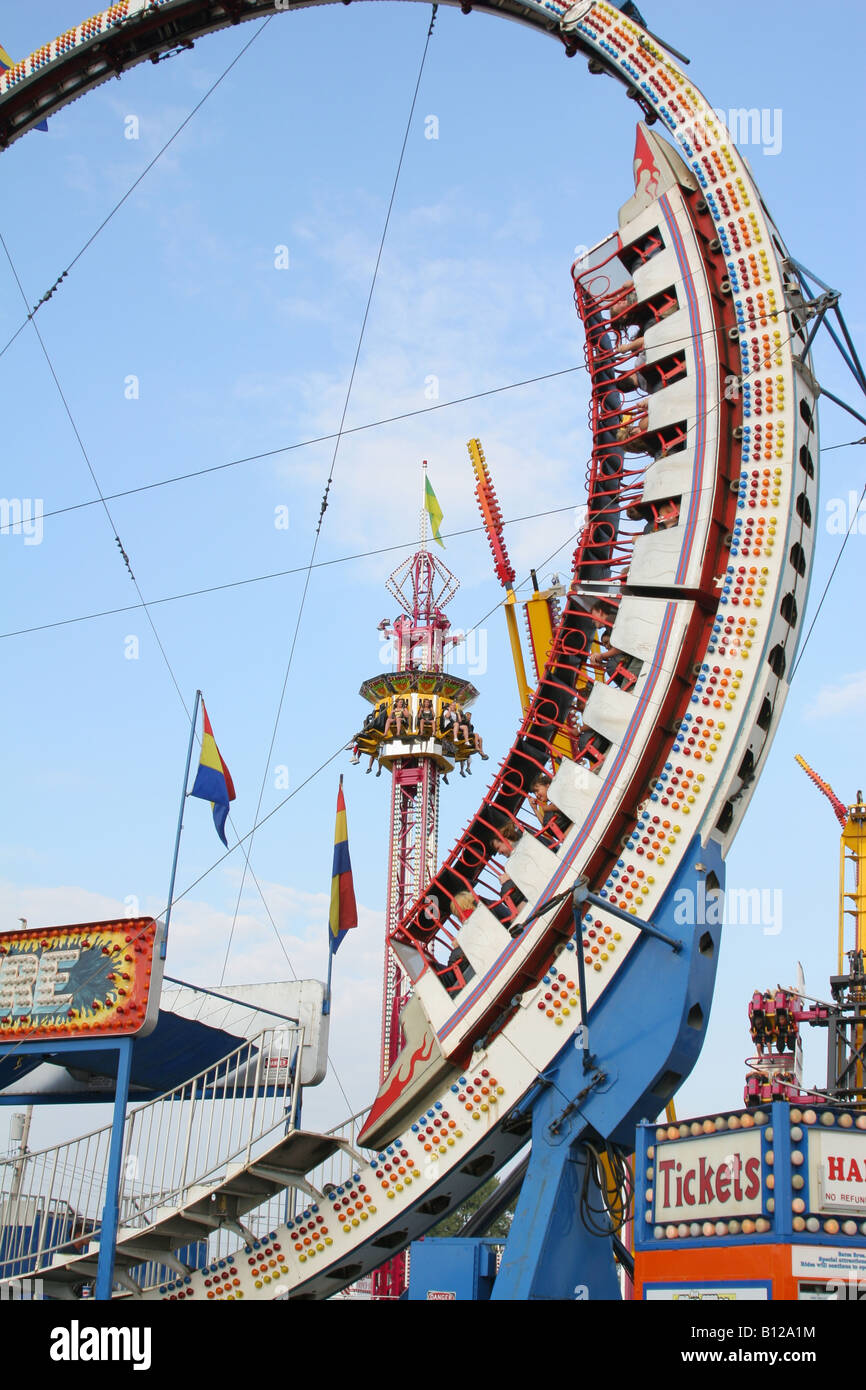 Ring Of Fire Carnival Ride Canfield Fair Canfield Ohio - Stock Image