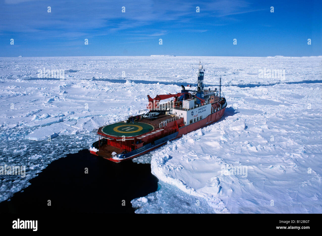 aerial view ,aerien,aerial,vue aerienne ,French Icebreaker the Astrolabe Terre Adelie Antarctic At the base of Dumont Stock Photo