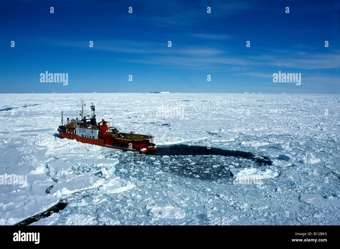 aerial view ,aerien,aerial,vue aerienne ,French Icebreaker the Astrolabe Terre Adelie Antarctic At the base of Dumont - Stock Image
