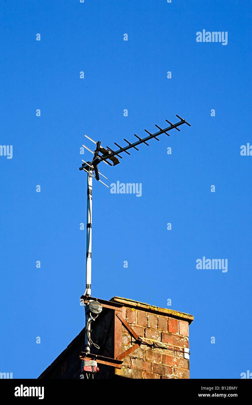 Television aerial for analog broadcasting, soon to be ended in the UK - Stock Image