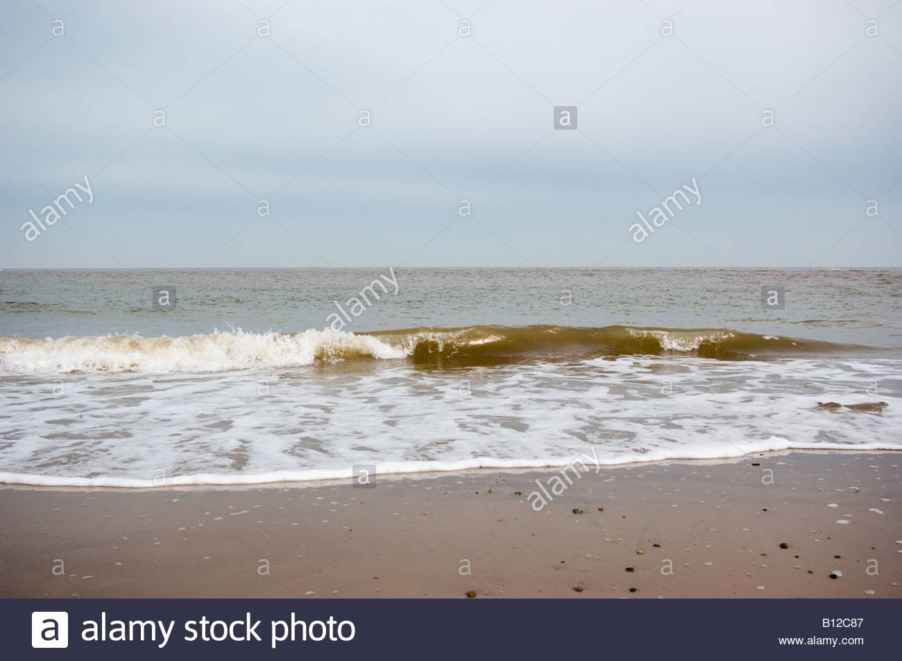 The North Sea on a dull overcast day - East Yorkshire - Stock Image