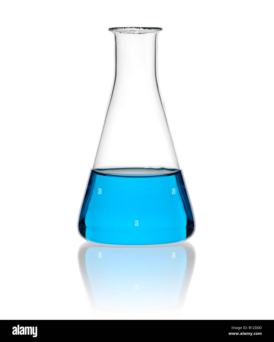 Scientific Conical Flask Filled with Chemicals Close Up Against a White Background - Stock Image