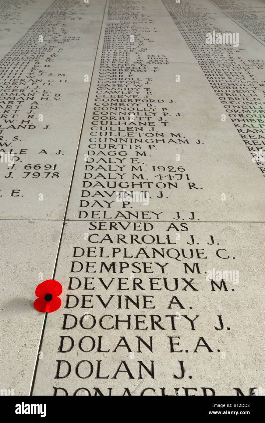 Names of missing World War One soldiers inscribed on Menin Gate in Ypres Belgium - Stock Image